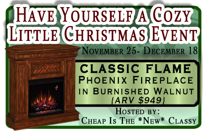 Classic flame phoenix electric fireplace giveaway cozychristmas welcome to the have yourself a cozy little christmas solutioingenieria Choice Image