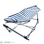 Portable Blue and White Stripe Hammock With Pillow