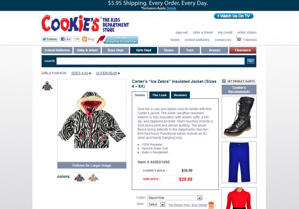 Cookies Kids Item Description For Carter's Ice Zebra Insulated Jacket