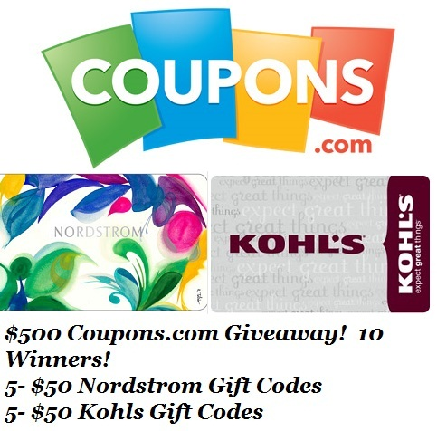 Coupons.com gift card giveaway Kohl's and Nordstrom