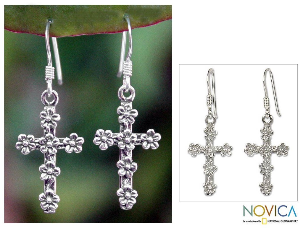 Sterling Silver Cross Earrings from Novica
