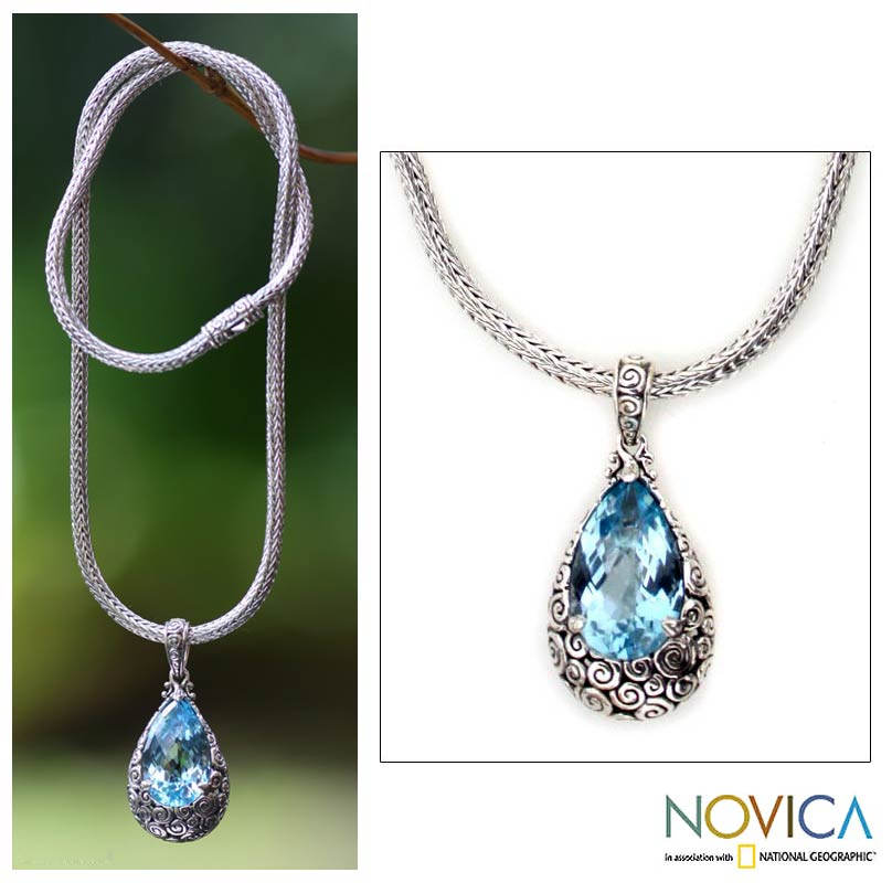 Azure Teardrop Necklace from Novica