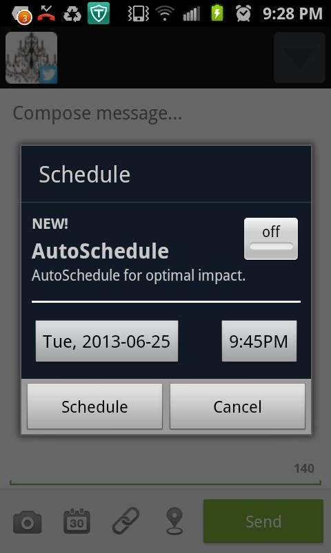 """After you have typed your tweet, choose your time and date and click """"schedule"""""""
