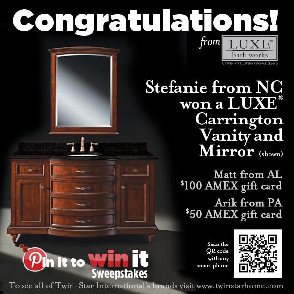 Luxe Bath Works Pin It To Win It Winner