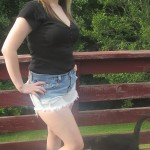 The ombre look with DIY ombre jeans shorts, an Old Navy henley tee and Ross shoes. This entire look was less than $25