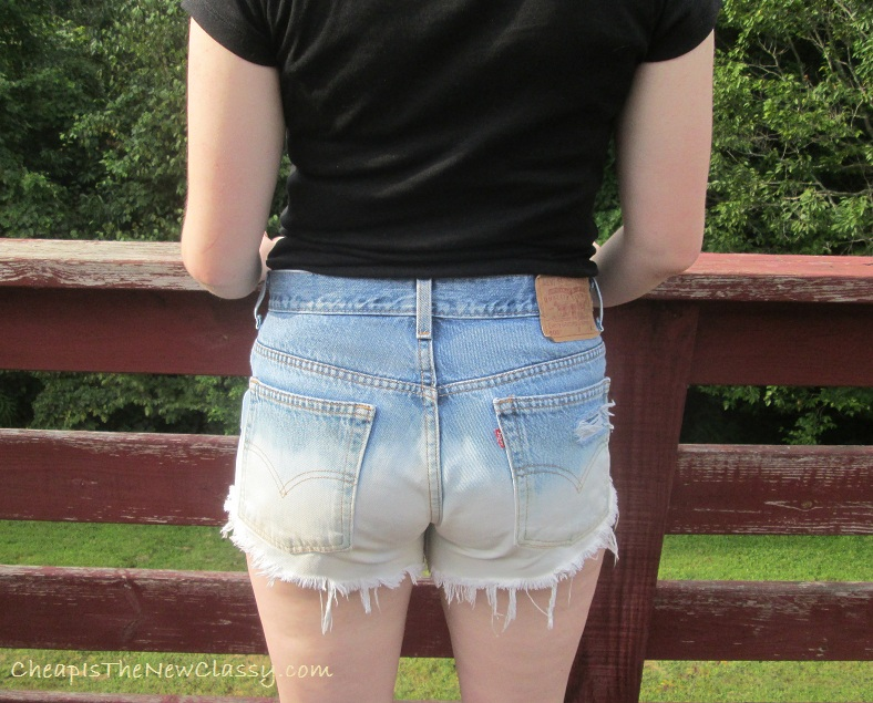 This look with DIY ombre jeans shorts, an Old Navy henley tee and Ross shoes can be achieved easily through upcycling and thrifting. This entire look costed me less than $25 because I made the shorts myself instead of purchasing them at a designer store.