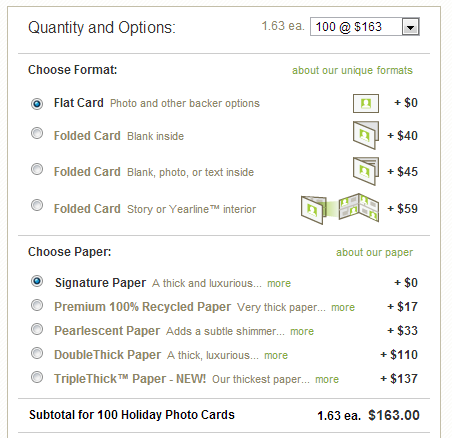 Minted.com pricing structure example