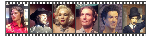Wax figures mannequins featured at the Hollywood Wax Museum in Pigeon Forge Tennessee