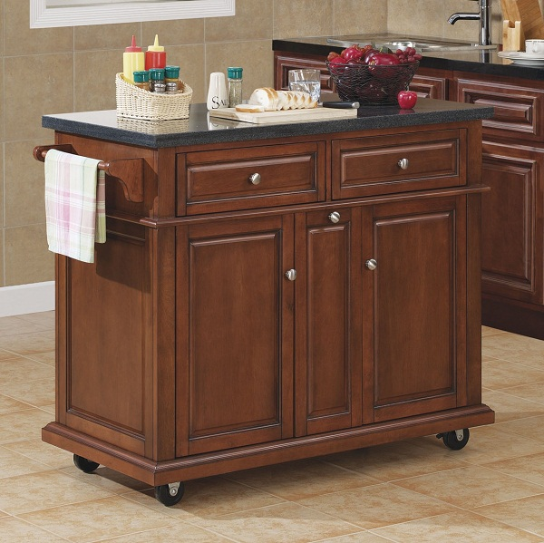 Tresanti Saffron Granite Top Kitchen Island in Cherry Finish