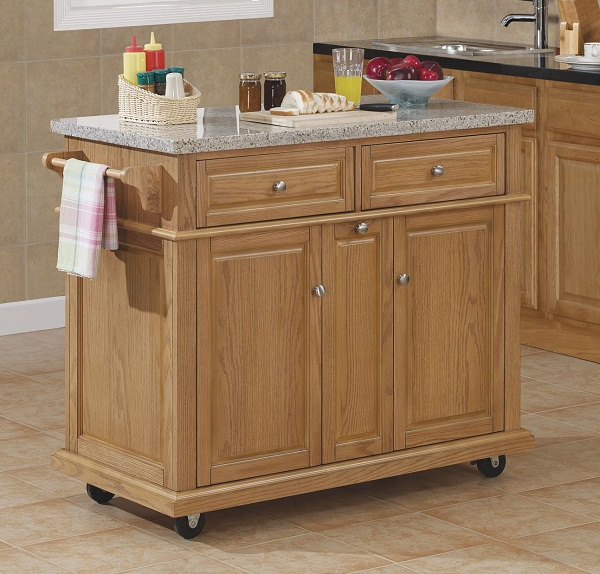 Tresanti Saffron Granite Top Kitchen Island in Oak Finish