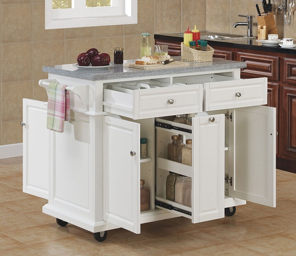 Tresanti Saffron Granite Top Kitchen Island In White Finish