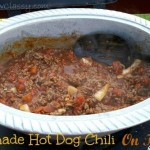 Homemade Hot Dog Chili on the grill in the Wilton Armetale Chili Pot