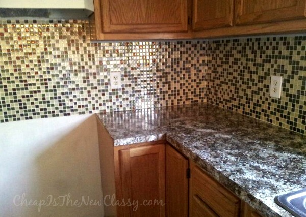 Installation of Smart Tiles peel and stick backsplash tiles #sponsored