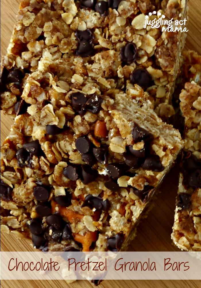 10 Fun Recipes with Pretzels for National Pretzel Day on April 26th: Chocolate Pretzel Granola Bars
