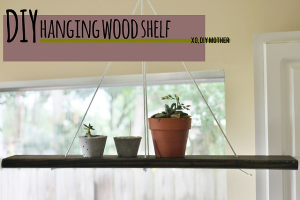 Make your own hanging wood shelves with this easy DIY tutorial with pictures
