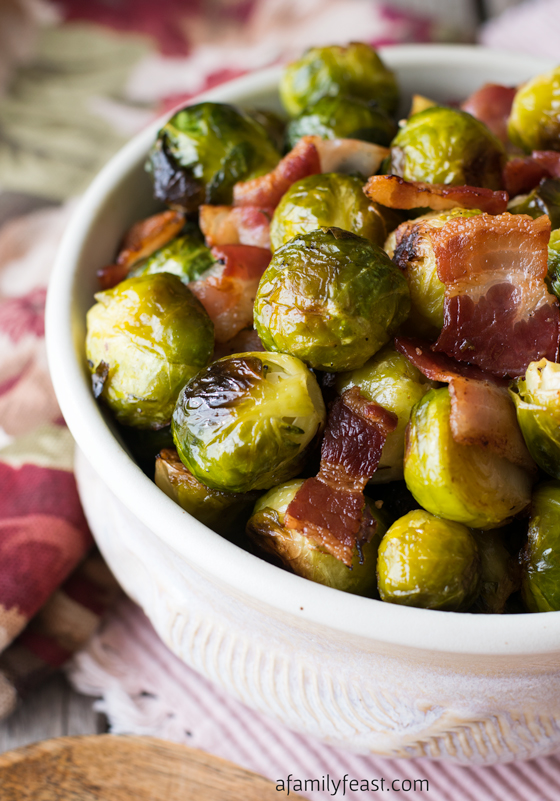 Oven Roasted Brussels Sprouts With Bacon: 10 Delicious Recipes With Veggies for Eat Your Veggies Day {Eat Your Vegetables Day} from Cheap Is The New Classy