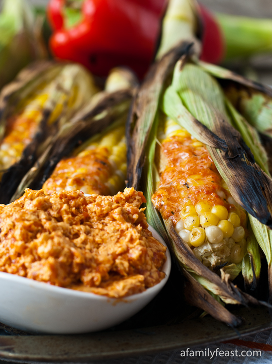 Grilled Corn On The Cob With Roasted Red Pepper Butter: 12 Great Grilling Recipes To Whet Your Appetite This Summer | Cheap Is The New Classy