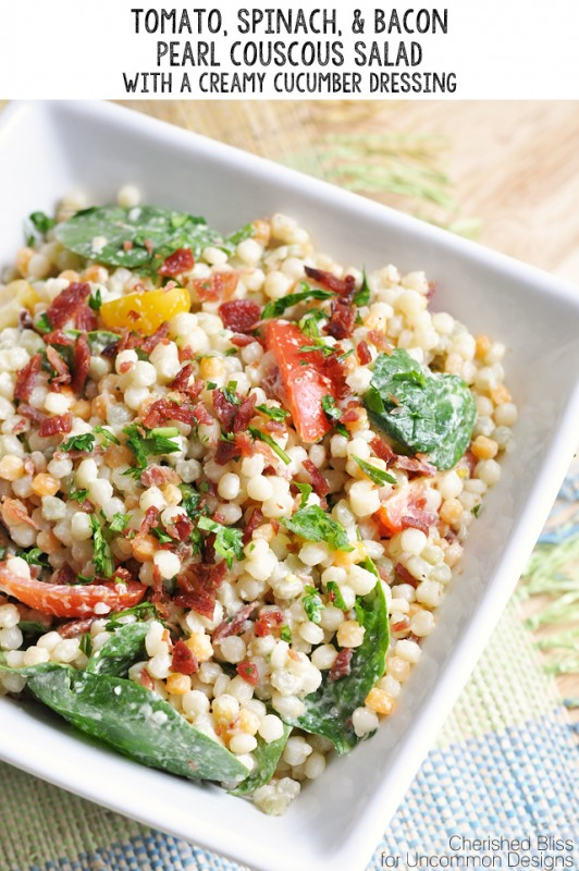 Tomato, Spinach and Bacon Pearl Couscous Salad With Creamy Cucumber Dressing - Spinach Recipes: 10 Tasty Recipes Including Spinach
