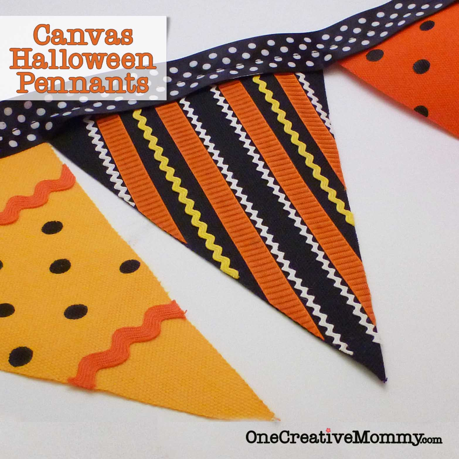 Canvas Halloween Pennants {No Sew}: 10 Fun and Spooky DIY Halloween Decorations | Cheap Is The New Classy