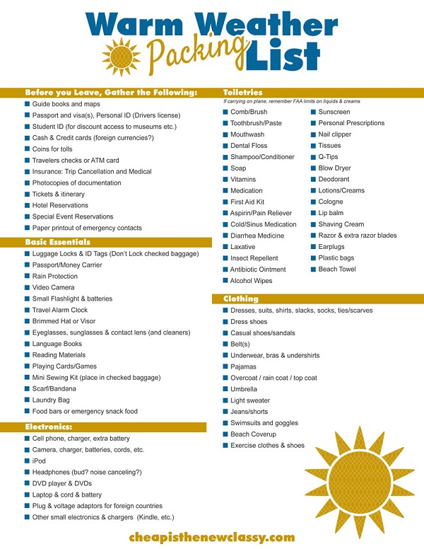 Free Printable Cruise Packing List  Cheap Is The New Classy