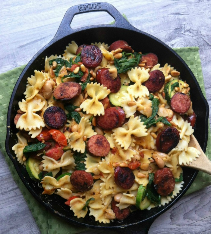 Smoke Sausage, White Bean and Spinach Pasta: 10 Perfect Pasta Recipes for National Pasta Day | Cheap Is The New Classy