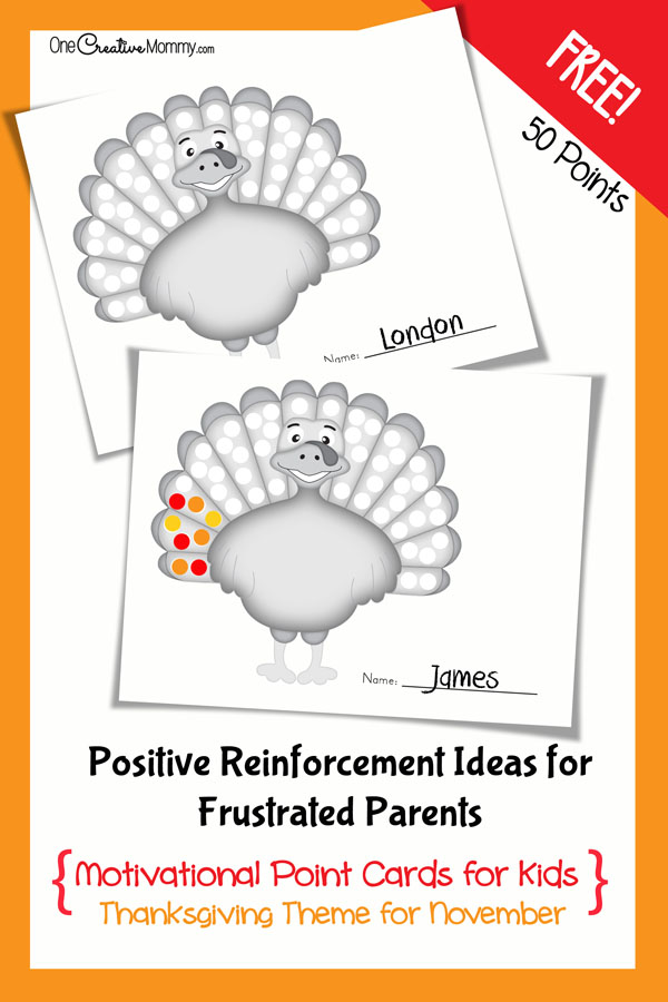 Positive Reinforcement Printable Point Card: 10 Kid Friendly Thanksgiving Activities | Cheap Is The New Classy