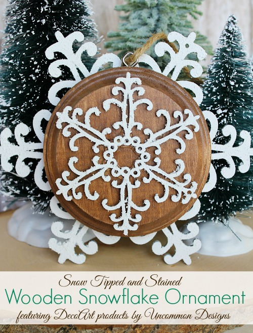 Snow Tipped and Stained Wooden Snowflake Ornaments: 10 Snowflake Crafts and Ornaments | Cheap Is The New Classy