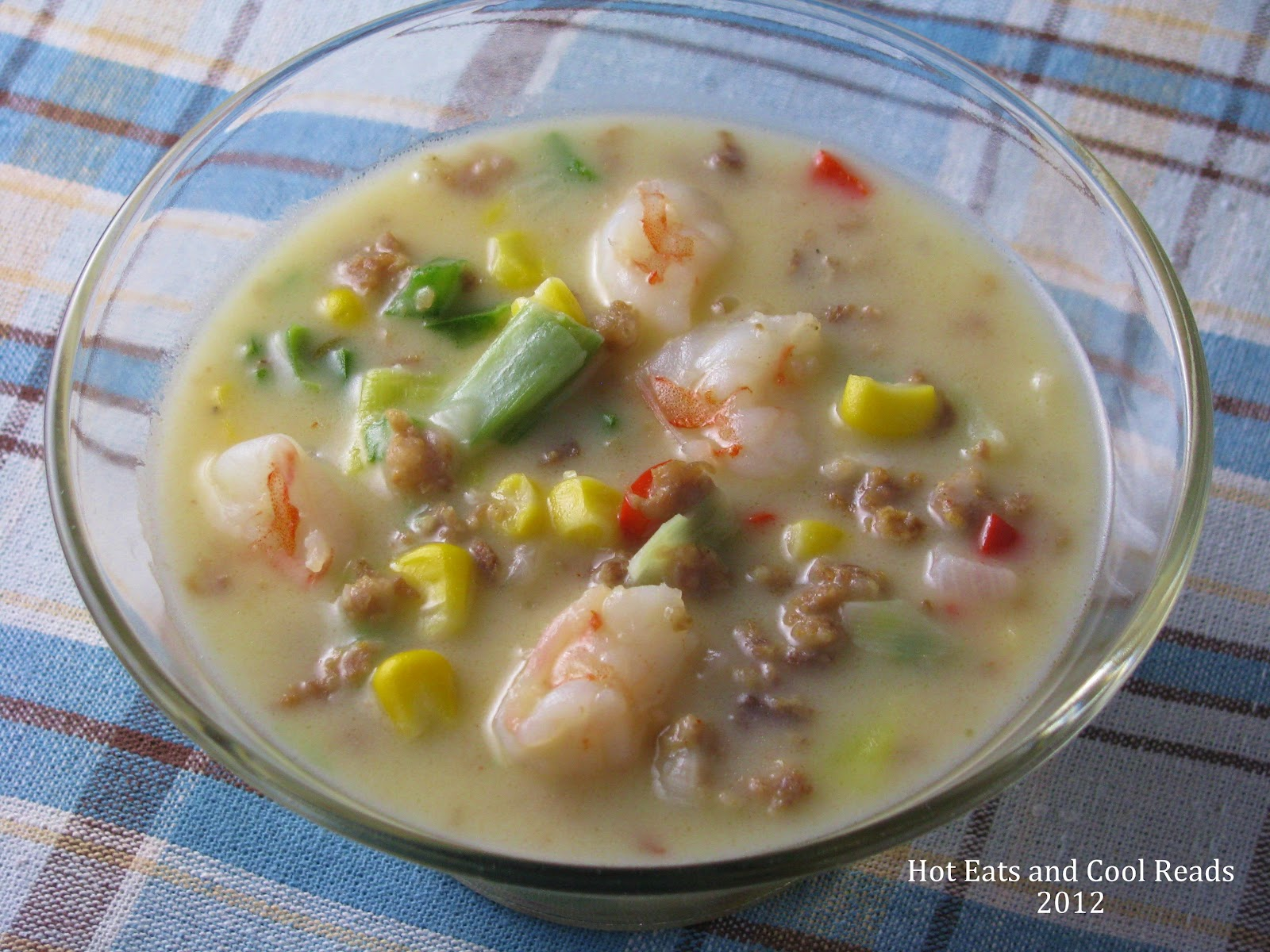 Shrimp and Sausage Corn Chowder | Hot Eats and Cool Reads
