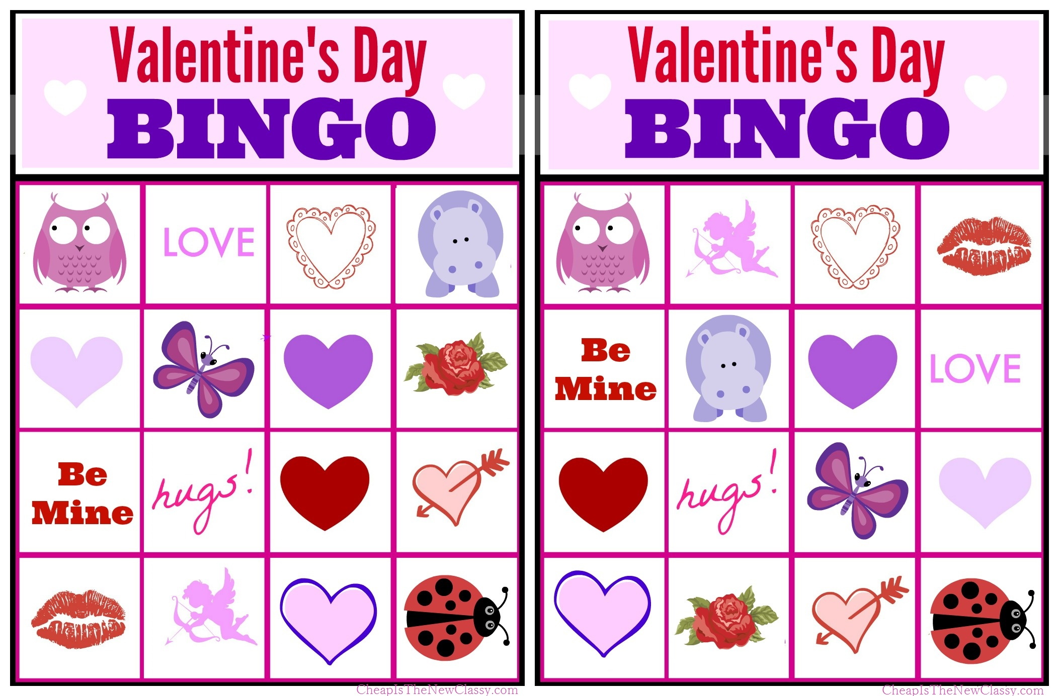 This is an image of Valentine Bingo Free Printable with regard to custom card