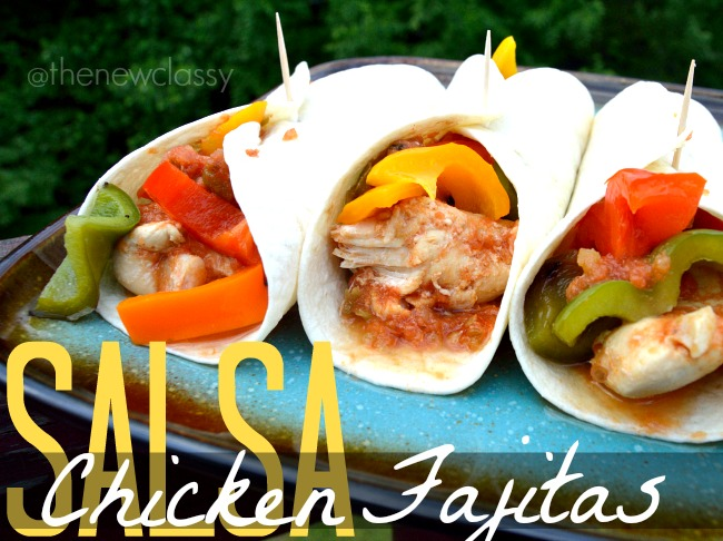Salsa Chicken Fajitas Recipe with Colorful Grilled Peppers