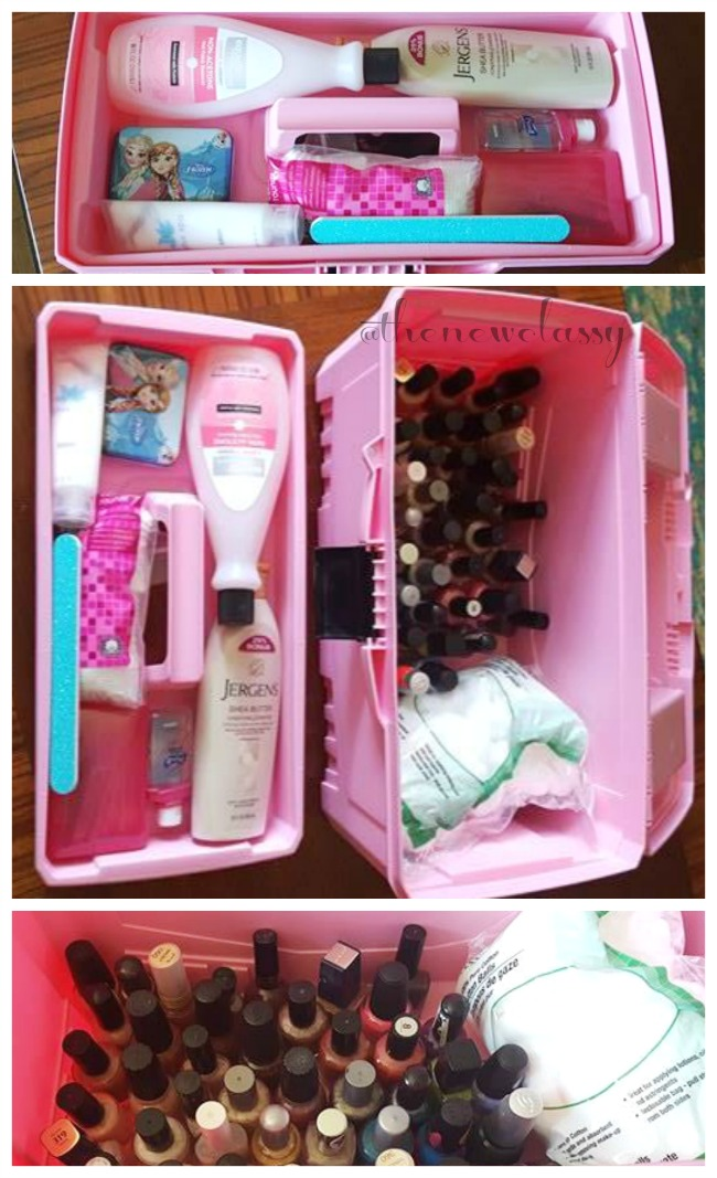 Nail Polish Organization Idea: How We Organized Our Nail Stuff In This Yard Sale Craft Box