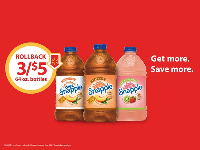 3/$5 Rollback On 64 oz. Snapple Peach, Diet Peach, And Kiwi Strawberry ONLY At Walmart! #SnappleRollback #Walmart #ad