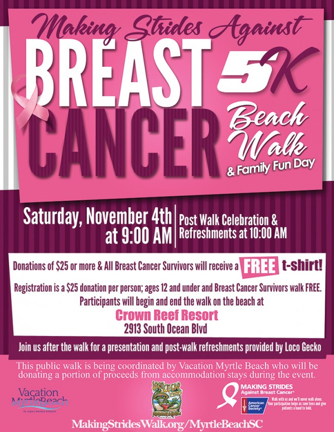 Making Strides Against Breast Cancer Beach Walk & Family Fun Day 11/4 In Myrtle Beach