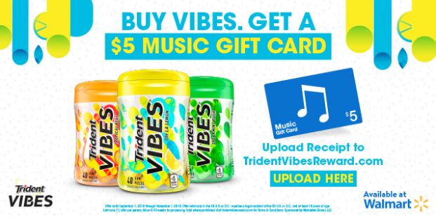 $5 iTunes Gift Card With Trident VIBES® Rebate Offer