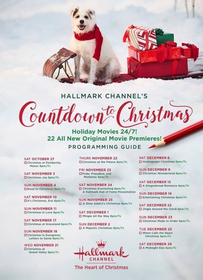 Hallmark Channel Countdown To Christmas Schedule